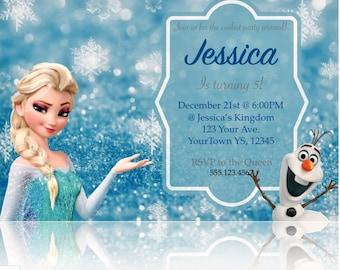 Frozen Birthday Invitation, Frozen Birthday Party, Elsa Invite, Disney Princess, Any Age, Personalized, Printable, Digital File