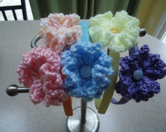 Set of Five Pastel Colored Crochet Flower Headbands to Fit Toddlers and Young Girls