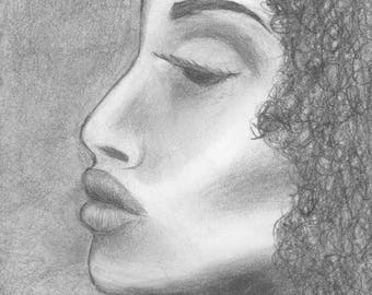 Dramatic Pencil Sketch Print Natural Hair Drawing Black and White Grayscale shadow study model pencil drawing
