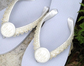 BEACH WEDDING Flip Flops, Pearl Trim, Destination Weddings, Bride, Personalized, White or Ivory, Comfy Ribbon Wrapped Straps, Flats or Wedge