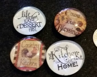 Set of 4 Country Kitchen, Strong Glass Magnets, Refrigerator magnets, Fridge Art, Kitchen Decor