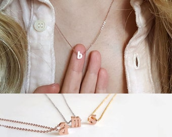 Tiny Rose Gold Initial Necklace, Gold Alphabet necklace,Best Friends necklace, Personalized necklace,Bridesmaid Gift, letter necklace