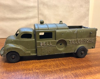 Vintage Hubley Kiddie Toy Made in U.S.A Bell Telephone Army Green metal truck