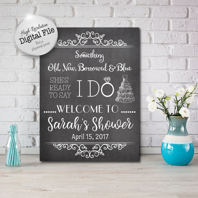 Something Old New Borrowed Blue Sign Bridal Shower Sign