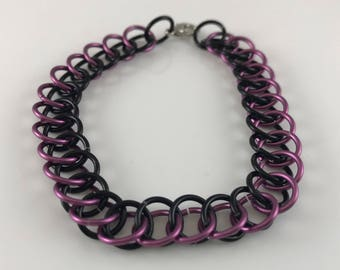 Sale 25% off Purple and Black Half Persian Chainmaille Bracelet