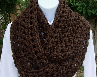 INFINITY SCARF, Loop Scarf, Dark Brown Cowl, Solid Brown Scarf, Espresso Brown Cowl, Soft Thick Crochet Knit Winter..Ready to Ship in 2 Days