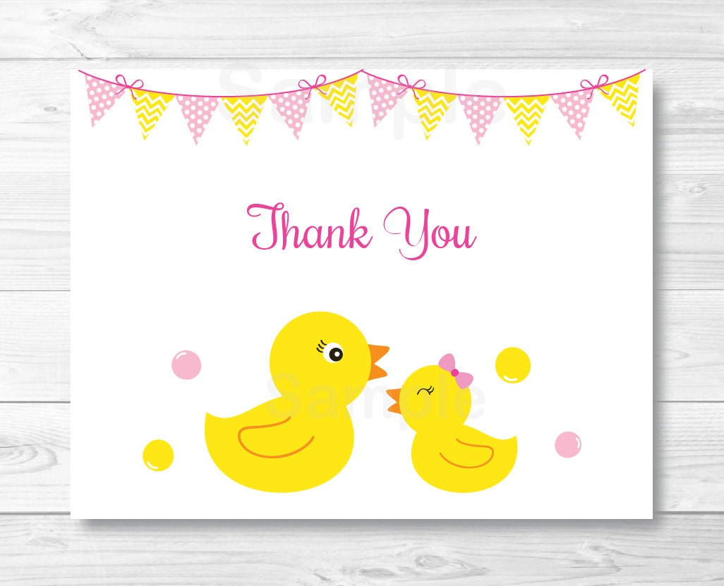 Cute Pink Rubber Duck Thank You Card / Rubber Duck Baby Shower
