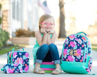 Amelia Backpack and Lunch box Set, MONOGRAM INCLUDED, Personalized Backpack, Monogram Backpack, Girl Backpack, Back to School