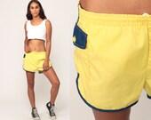 70s Swim Trunks Yellow Shorts Retro Bathing Suit Mens Swimsuit Swim Suit Bottoms Vintage 80s Hipster Medium Large