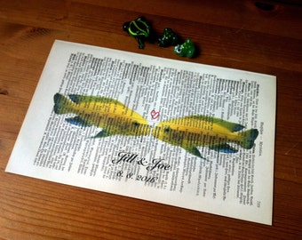 Yellowfish Sweet Love Valentine Wedding Anniversary Engagement Gift Personalized Art Print on Antique 1896 Dictionary Book Page