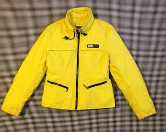 1990's, down filled, nylon, jacket, in neon yellow, by DKNY jeans, Women's size Medium