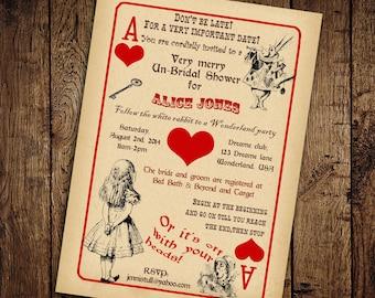 Alice in Wonderland Bridal Shower Invitation - Vintage Playing Card Tea Party -Printable DIY