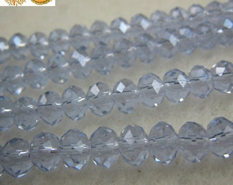 Sale---15 inch strand of Crystal Glass faceted rondelle opaque beads black color 6x8mm