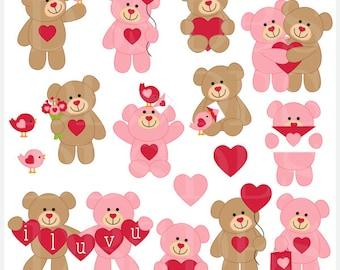 valentine's day valentines clipart clip art - Valentine Teddy Bears Digital Clip Art - BUY 2 GET 2 FREE