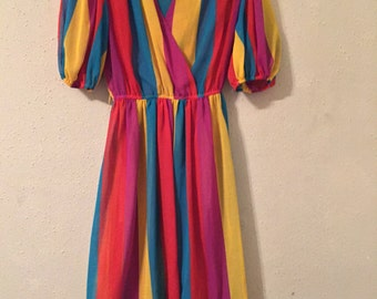 1970s Semi Sheer Rainbow Stripe Dress