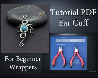 Tutorial ear cuff PDF, Wire wrap tutorial, Wire Wrapped Earrings, Tutorial PDF, Wire tutorial, Jewelry tutorial, ViantaArt