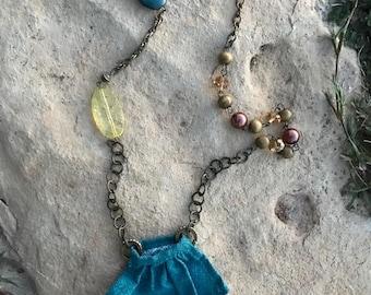 "Mini Purse Necklace, Square Mini Purse, Blue Cotton, Handmade with Love, Fabric, 20"" Necklace"