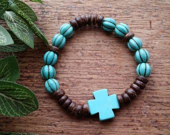 Pumpkin Stretch Bracelet, Turquoise Bracelet, Boho bracelet, Beaded bracelet, Native American style bracelet Southwest bracelet.