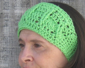 Cabled crochet headband, headwrap, ear warmer - lime green - crochet accessories Winter Fashion handmade Salutations Crochet