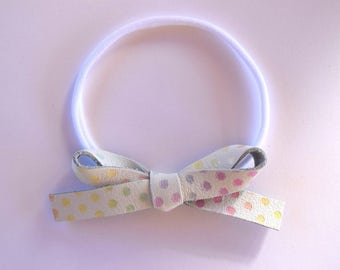 Pastel Polka Dot LARGE Leather Bow One Size Fits All Elastic Easter Photo Prop for Newborn Baby Little Girl Child Headwrap Pretty Bow