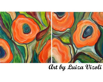 Original Flowers Painting ORANGE POPPIES Whimsical Colorful Artwork, Children room, Spring Wall Decor, set of two paintings CUSTOM