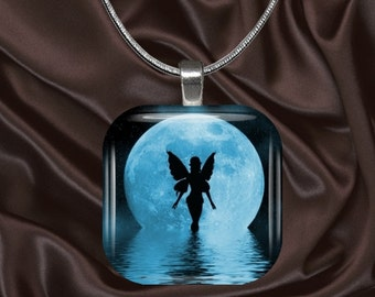 Blue Moon Fairy glass tile pendant