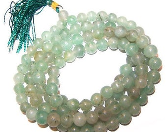 Mala Beads - Green Aventurine, Buddhist, Yoga Jewellery, Positive Affirmations, Power Bead Necklace