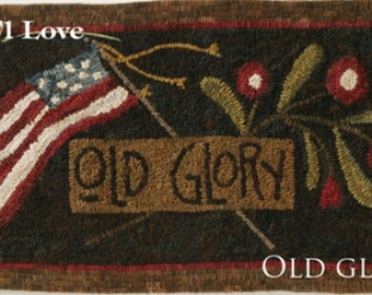 """Pattern: Rug Hooking Pattern """"Old Glory"""" by Maggie Bonanomi for  Needle Love Designs"""