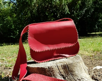 Mini  leather bag, red bag with beads,women's bag,shoulder leather bag,unique bag lady,gift for her,leather purse,crossbody bag,