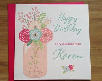 Handmade Personalised Flowers Mason Jar Birthday Card Mum ,Mam ,Wife ,Friend ,Daughter ,Aunt