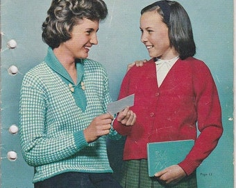 ON SALE Paton's Knitting Pattern No 693 for Girls Wear  Jumpers, Sweaters, Cardigans, Jackets  age 6 to 16 years - Vintage 1960s