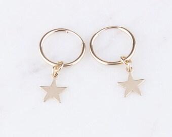 14K Gold Filled Star Hoops, Gold Star Earrings, Gift for Her, Dainty Star Earrings, Everyday Earrings, Celestial Earrings, Star Dangle Hoops