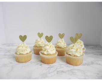 Heart Cupcake Toppers, Heart Toppers, Cupcake Toppers, Heart Cake Topper, Cake Topper