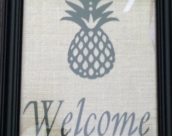 welcome sign with pineapple, burlap decor, welcome decor, pineapple welcome sign, pineapple decor, home decor, pineapple art, welcome decor,