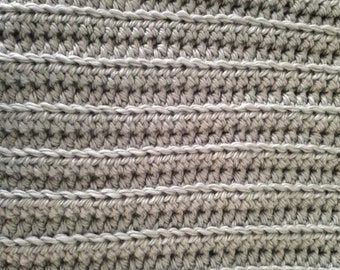 Crochet Tummy Time Mat - Extra Thick Chunky Baby Blanket - Gray - Handmade Baby Shower Gift - Soft and Warm