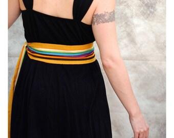 Gold Rainbow Belt SA50 - Yellow Gold Wrap Belt - Boho Chic Fashion - Guatemalan Fabric - Boho Gypsy Clothing - Pirate Costume Accessories