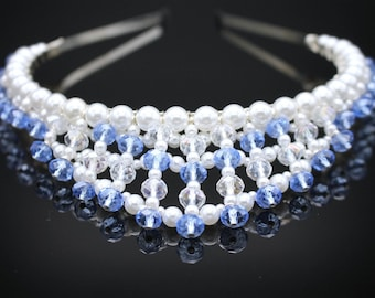 Blue and Clear Crystal Pearl Headband - Something Blue