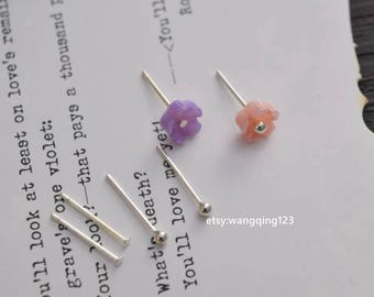20 pieces (10 pairs) 925 sterling silver flat ball post posts earring earrings stud studs earstuds earstud 1.5mm 2mm