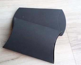 Black boxes, Set of 10 pillow boxes, gift box, party favor, candy box, Black boxes