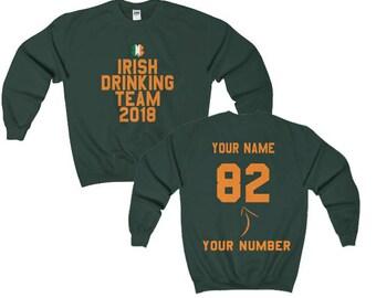 St Patricks Day Custom Irish Flag Drinking Four Leaf Clover Personalised Sweatshirt