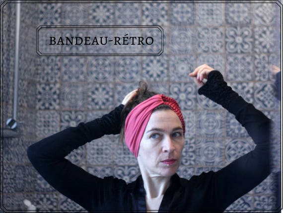 Headband-Turban hair Retro pink Berlingot Jersey and Viscose. Fabric headband