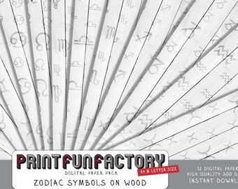 Zodiac digital paper - Zodiac signs on wood background paper  - 12 digital papers (#146) INSTANT DOWNLOAD