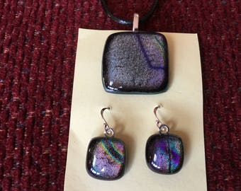 Lovely Dichroic Glass Pendant and Earrings
