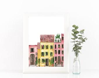 Rustic European Houses Digital Print - 8 x 10
