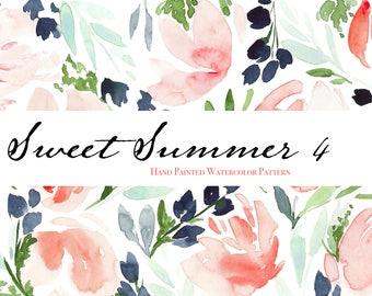"Sweet Summer 4 - Watercolor Floral Clip Art Pattern - Digital Paper - 10 x 7"" - Hand painted watercolour flowers"