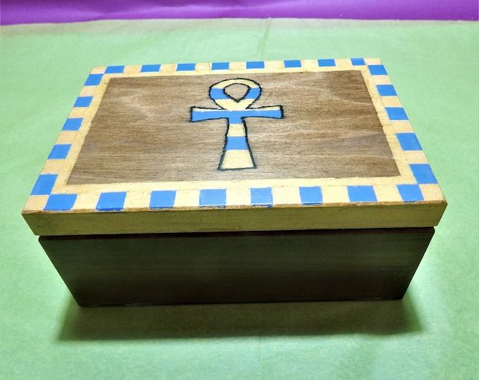 Ankh box,wood box,decoupage,meditation box,inspiration wooden box,storage box,ankh,egyptian symbol box,handpainted ankh box