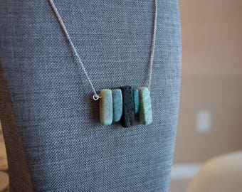 Lava and Agate Bar Necklace