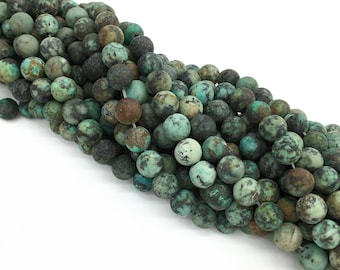 1Full Strand Matte African Turquoise Round Beads 4mm 6mm 8mm 10mm Wholesale Gemstone For Jewelry Making