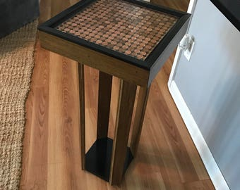 Custom accent/occasional resin top penny table