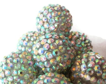 6 Basketball Wives / Bubblegum, Extra Large Aurora Borealis Rhinestone Beads, Jewelry Making Supply, 20 mm,